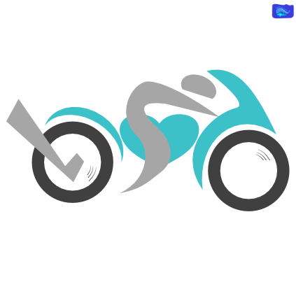 teal motorcycle graphic