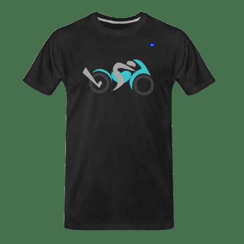 Motorcycle design t-shirt - teal bike graphic