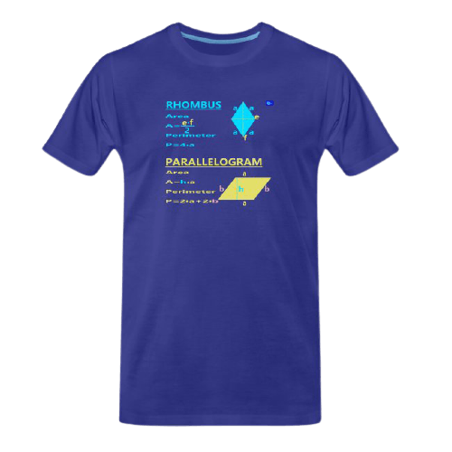 Rhombus and parallelogram with perimeter and area - math tee for students and maths teachers