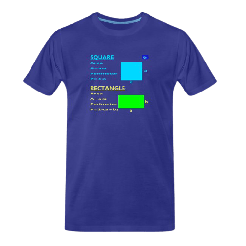 Square and rectangle with perimeter and area - math tee for students and maths teachers