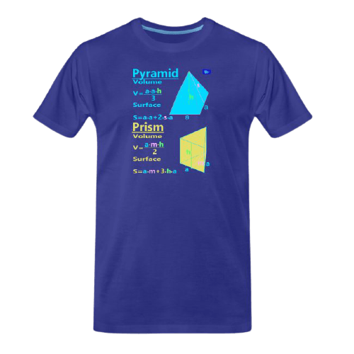 Pyramid and prism with surface and volume - math tee for students and maths teachers