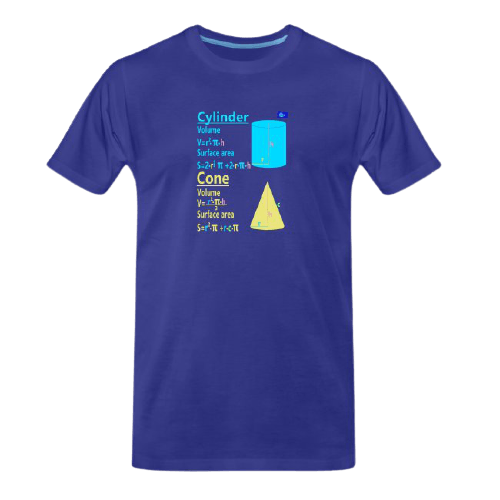 Cylinder and cone with surface and volume - math tee for students and maths teachers