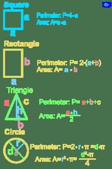 Math designs: square, rectangle, triangle, circle