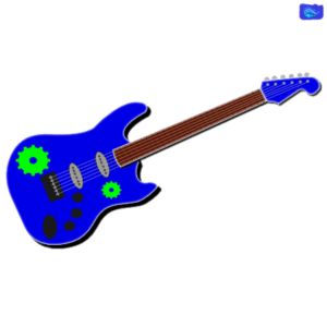 blue electric solo guitar graphic design with green cogs graphic