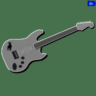 silver electric solo guitar graphic design with a black Amstaff graphic