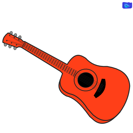 left-handed acoustic guitar graphic design