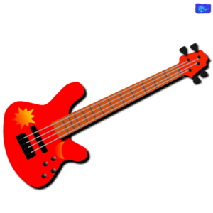 red bass guitar graphic design with sun and moon graphics