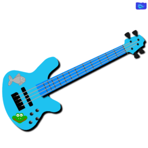 teal bass guitar graphic design with a frog and a fish graphics