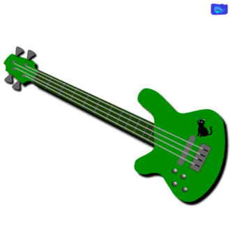 green left-handed bass guitar graphic design with a black cat graphic