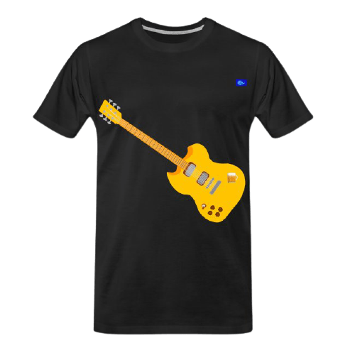 golden left-handed electric guitar graphic design a jug of beer graphic tee shirt