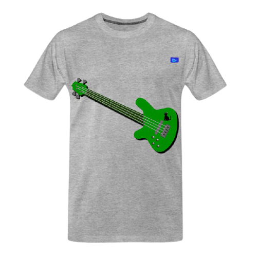 green left-handed bass guitar graphic design with a black cat graphic tee shirt