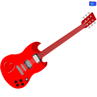 red electric solo guitar graphic design with a heart graphic