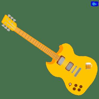 golden left-handed electric guitar graphic design a jug of beer graphic