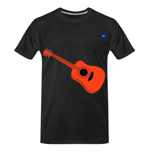 left-handed acoustic guitar graphic design tee shirt