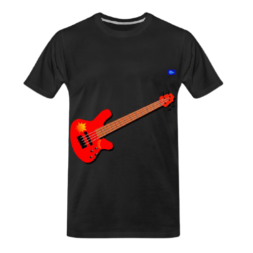 red bass guitar graphic design with sun and moon graphics tee shirt