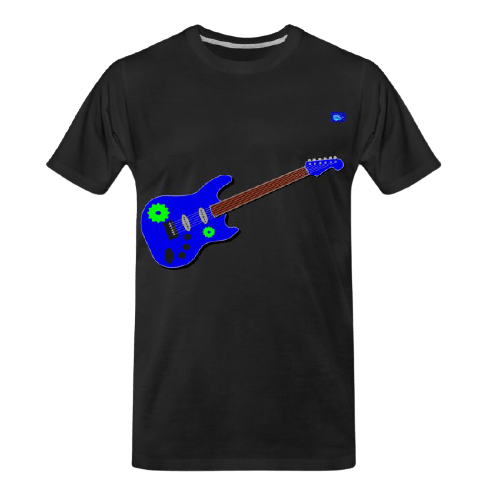 blue electric solo guitar graphic design with green cogs graphic tee shirt