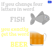 letters of fish to letters of beer - funny beer graphic