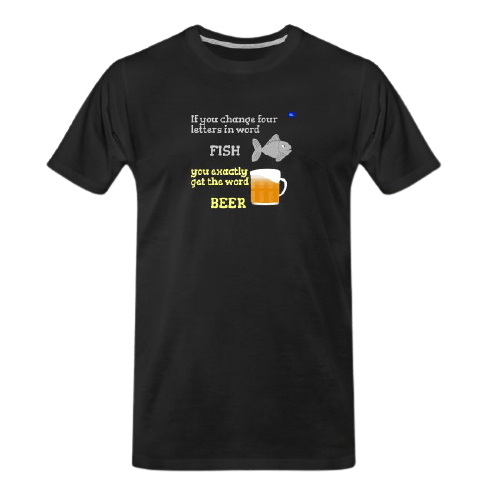 letters of fish to letters of beer - funny beer t shirts