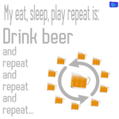 Drink beer and repeat and repeat... - funny beer graphic