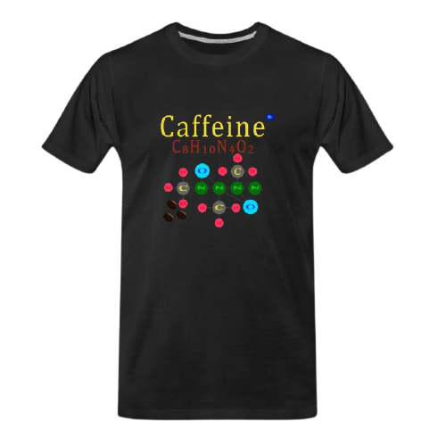 cool Chemistry designs t-shirt: Caffeine designed black t-shirt