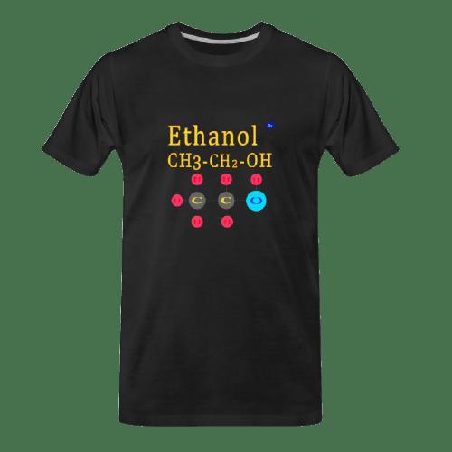 cool Chemistry designs t-shirt, Ethanol designed black t-shirt