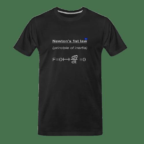 Newton 1st law black t-shirt