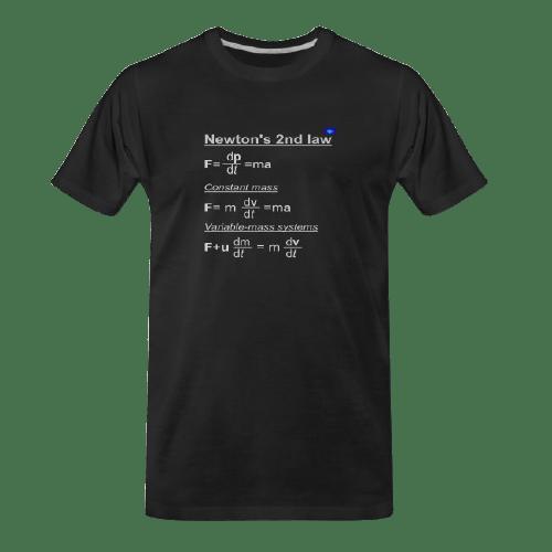 Newton's 2nd law black t-shirt
