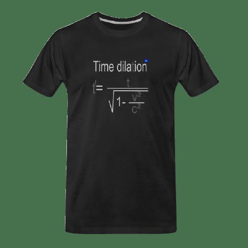 time dilation black t-shirt